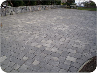 Picture of a unilock paver driveway