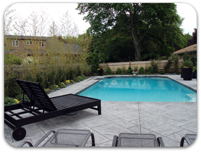 Picture of pool deck with decorative bamboo perimeter